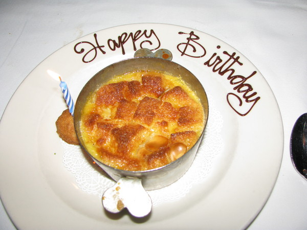 happy birthday bread pudding at highlands bar and grill birmingham al