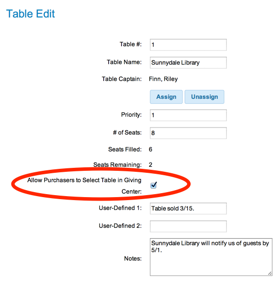 Table Edit - Set Seating Preference