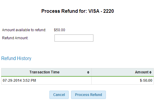 Process Refund (Credit Card)