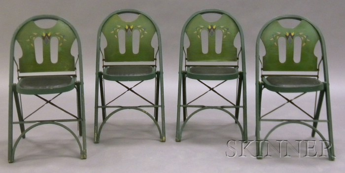 Four Art Deco Folding Chairs