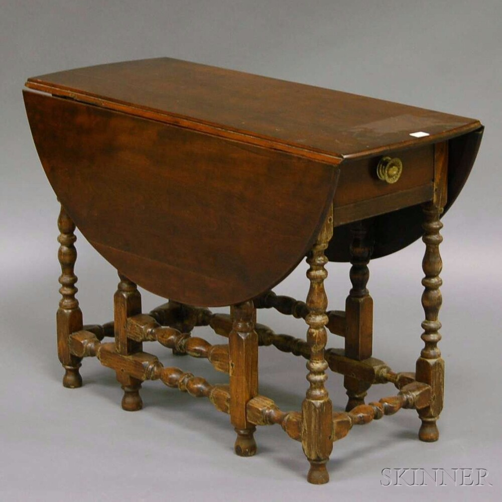William mary style cherry and maple drop leaf gate leg table with end drawer bidsquare - Gateleg table with drawers ...