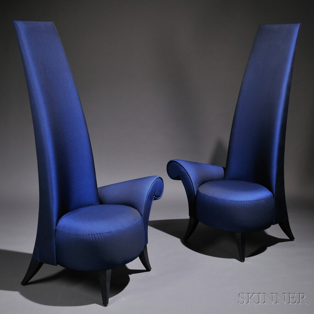Two contemporary la diva high back lounge chairs bidsquare for Contemporary armchair