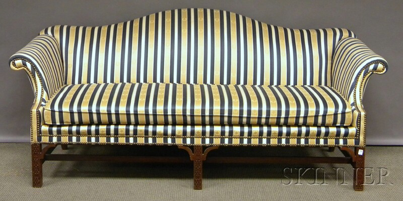 Rococo Chippendale Style Upholstered Camel Back Carved Mahogany Sofa Bidsquare