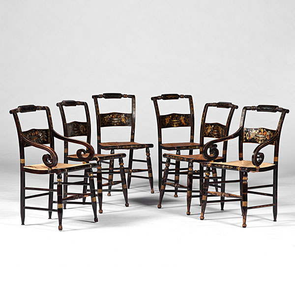 Hitchcock Style Stenciled Chairs Bidsquare
