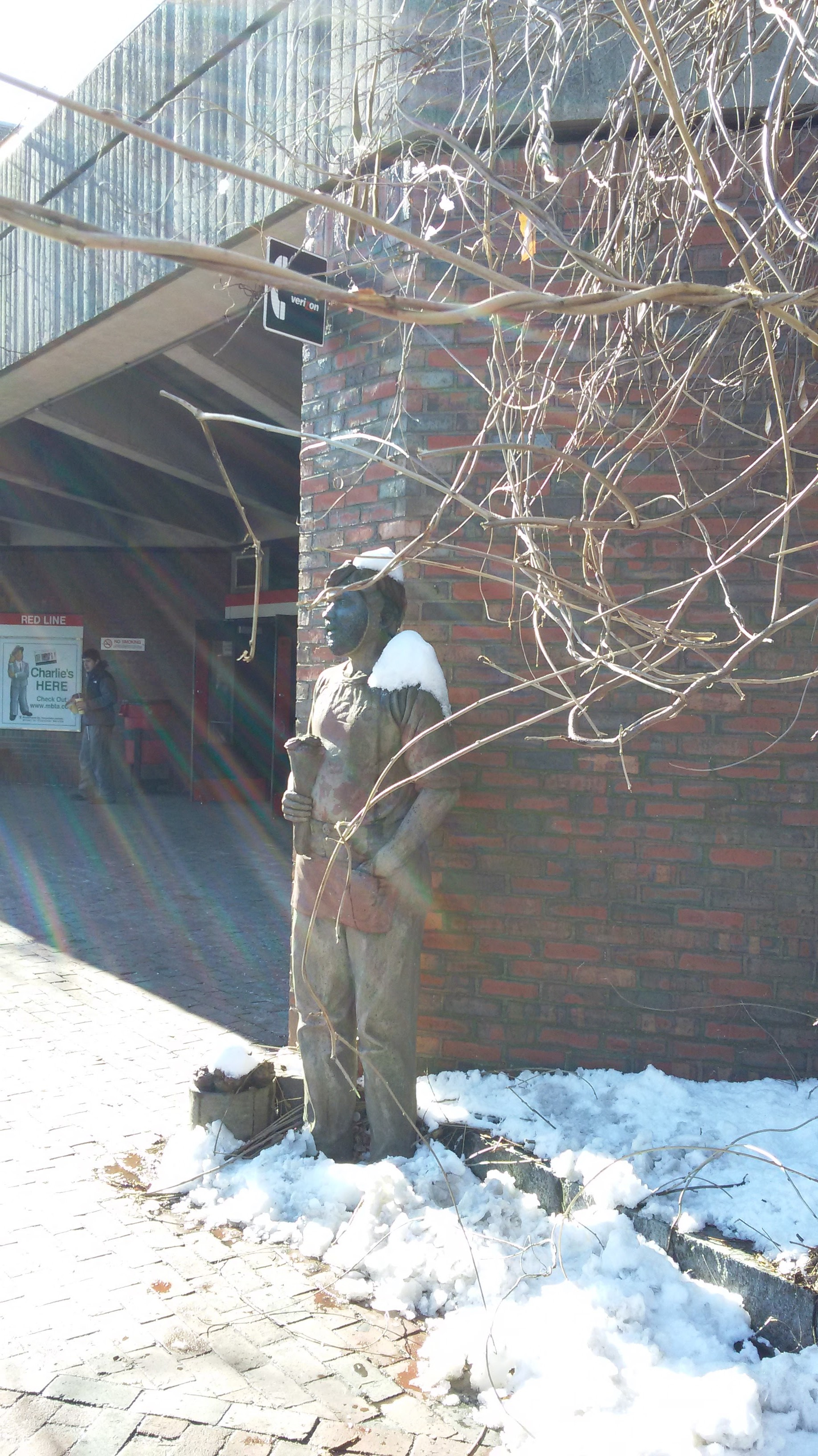 Statue outside the T stop in Davis Square