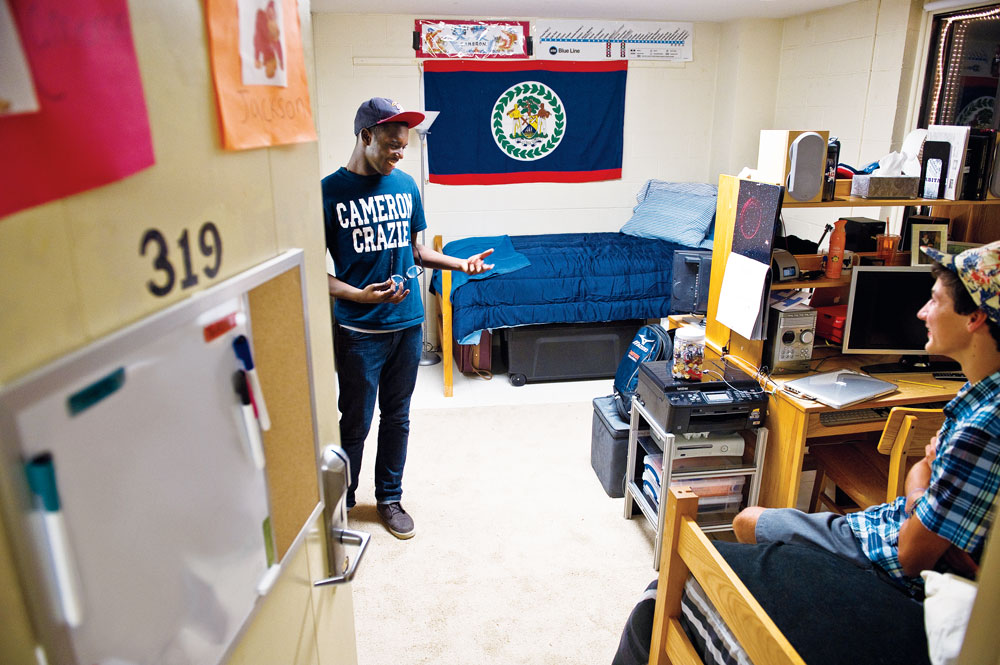 Inside a dorm room