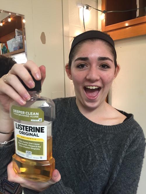 Katrina with mouthwash
