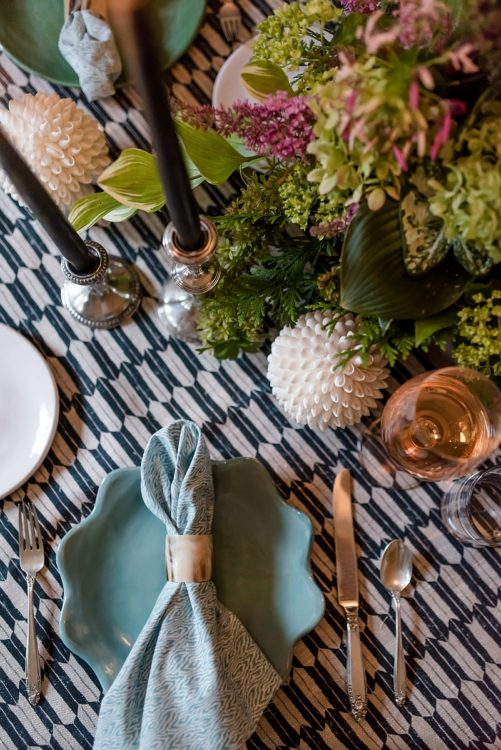 UGA graduates featured in Lisa Ellis' tablescape: Textile by Clay McLaurin and pottery by Rebecca Wood