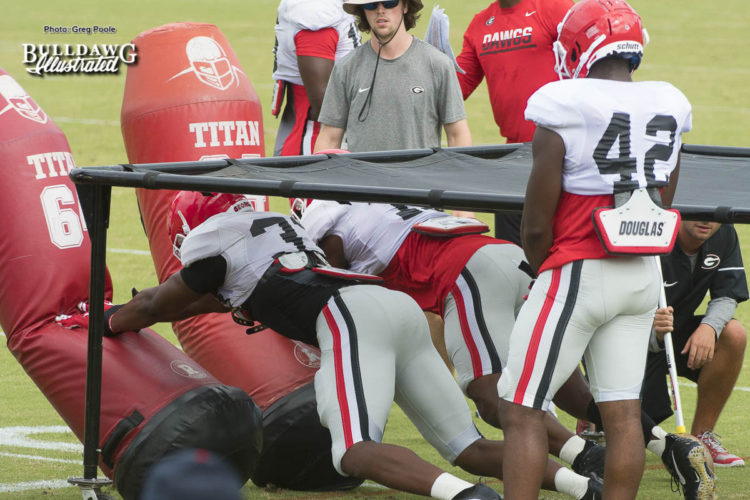 Georgia defensive players going through drills during Tuesday afternoons practice.