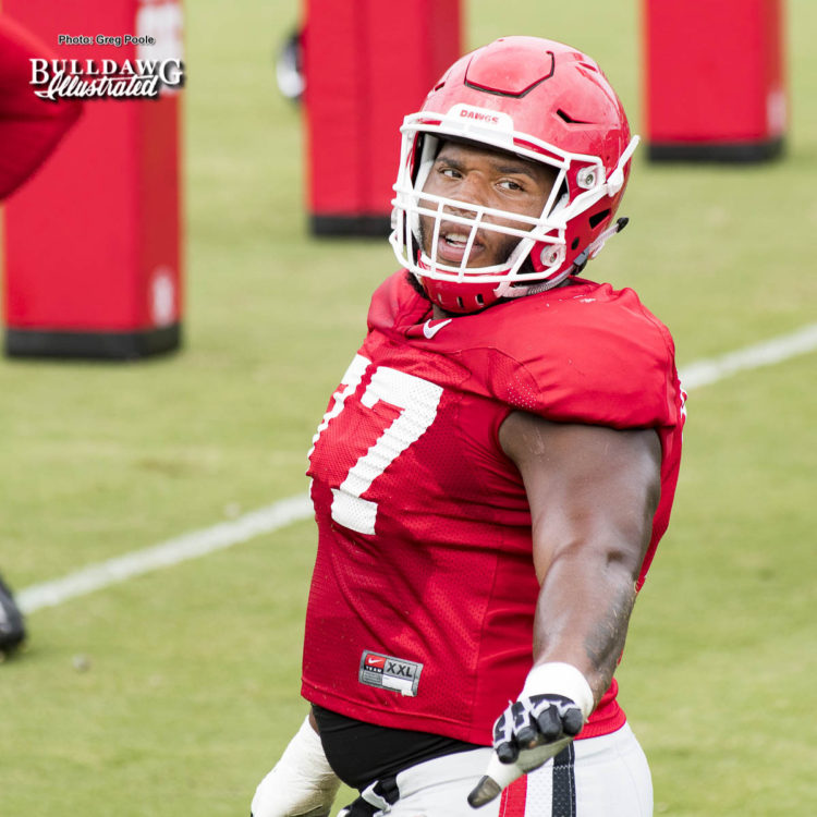 Isaiah Wynn (77) - UGA football practice, Aug. 29, 2017 -