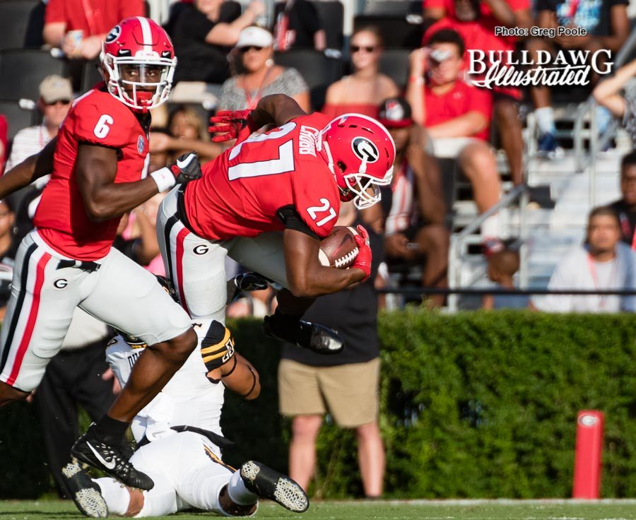Nick Chubb is just about to cross the goal line – Georgia vs. Appalachian State