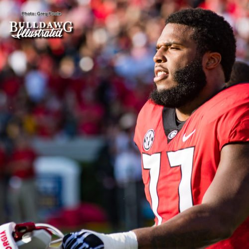 Georgia starting LT, Isaiah Wynn (77) - Appalachian State vs. UGA - Saturday, Sept. 2, 2017
