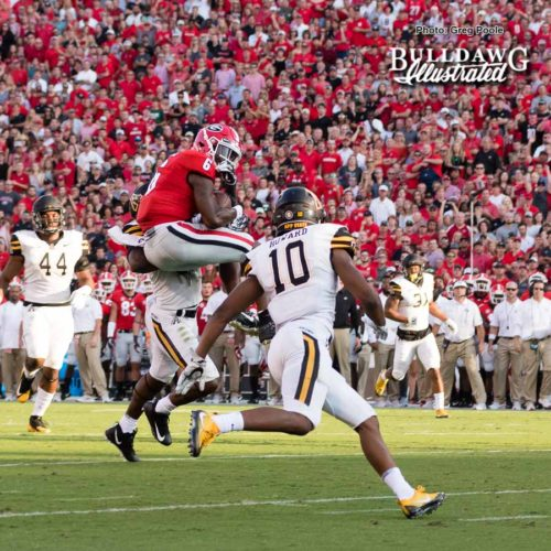 One of Javon Wims (6) three receptions for 81 yards - Appalachian State vs. UGA - Saturday, Sept. 2, 2017