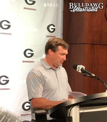 Kirby Smart during Monday, Sept. 4, 2017 press conference