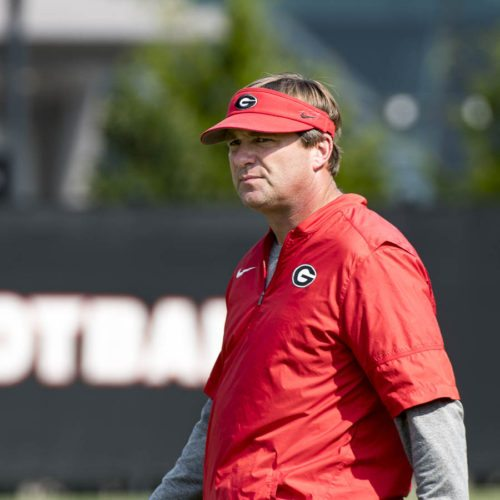 Kirby Smart looking on as his Dogs get ready to do battle with the Irish this Saturday - UGA football practice - Tuesday, Sept. 5, 2017