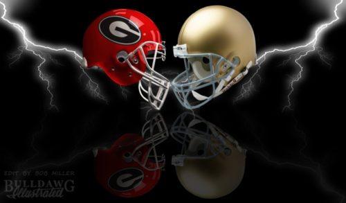 UGA vs Notre Dame 2017 helmet edit by Bob Miller