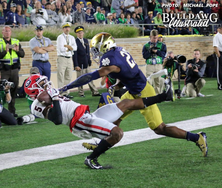 Georgia wide receiver Terry Godwin (5) makes a one-handed touchdown catch in the 2nd quarter of the UGA-Notre Dame game.  - Saturday, Sept, 9, 2017 -  (Photo: Michael Pope )