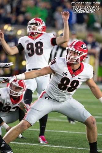 Cameron Nizialek (92) with the hold, Rodrigo Blankenship (98) with the kick and TE Jackson Harris (88) looks on. - UGA 20 - Notre Dame 19 - Saturday, September 9, 2017