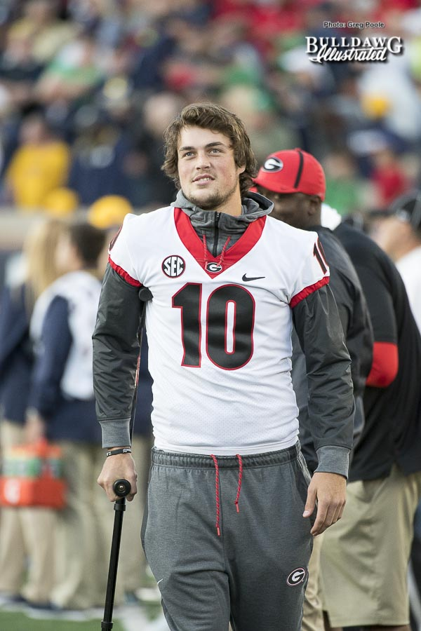 Jacob Eason made the trip to South Bend with the team despite spraining his left knee in last week's game against Appalachian State - UGA 20 - Notre Dame 19 - Saturday, September 9, 2017