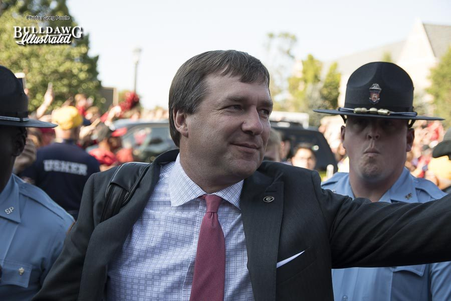 Kirby Smart during the 'Dawg Walk' at Notre Dame - UGA 20 - Notre Dame 19 - Saturday, September 9, 2017