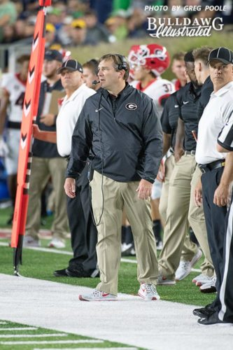 Kirby Smart looks on as his the Bulldog defense is stingy and defiant against the Irish offense - UGA 20 Notre Dame 19 - (Photo: Greg Poole / Bulldawg Illustrated)