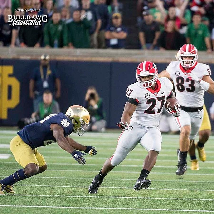 Nick Chubb (27) gets into the open field  - Georgia 20 Notre Dame 19 -  Saturday, September 9, 2017