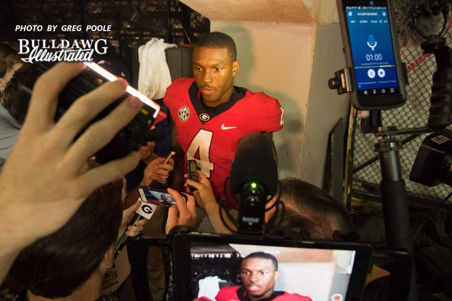 Mecole Hardman, Jr. during his post-Samford game interview, Saturday, Sept. 16, 2017