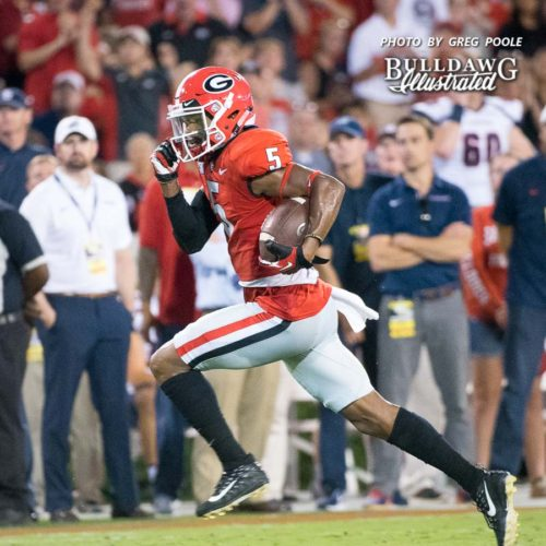 Terry Godwin on his way to 98 receiving yards on the night - UGA vs. Samford - Athens, GA, Saturday, Sept. 16, 2017
