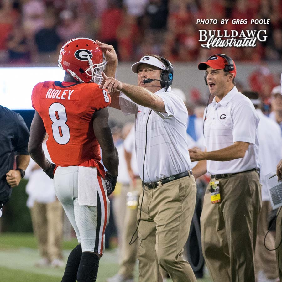 Kirby Smart coaches up sophomore WR Riley Ridley (8) during UGA's game versus Samford - Athens, GA, Saturday, Sept. 16, 2017 -