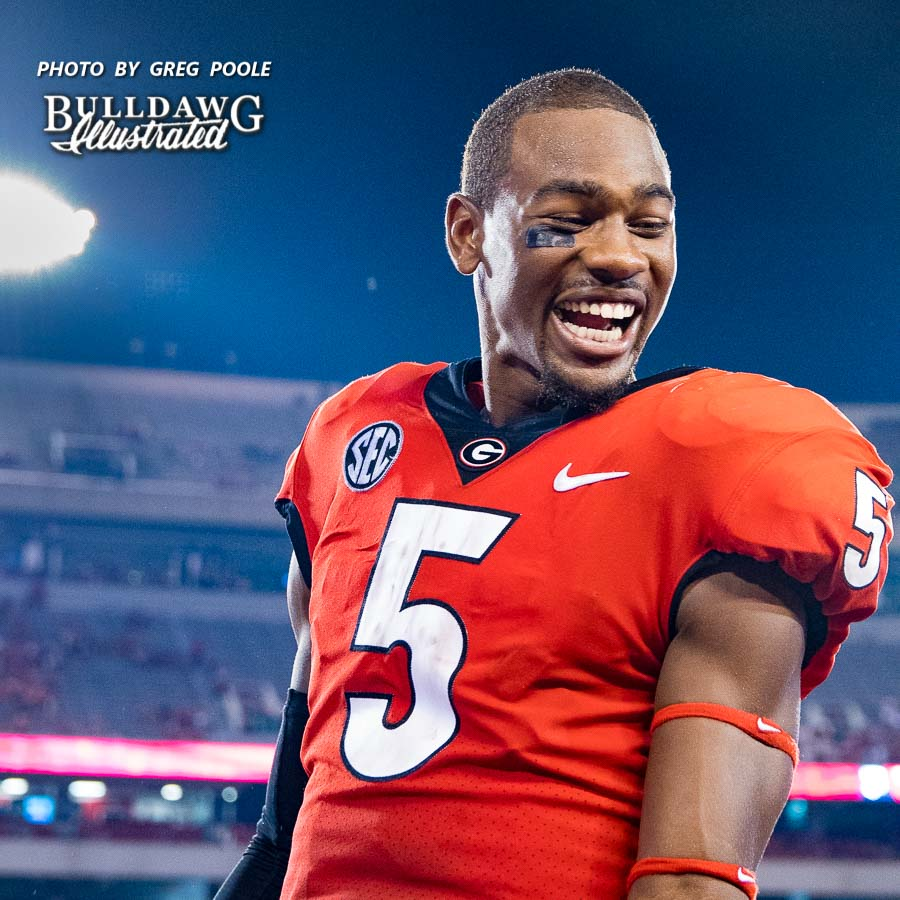 Terry Godwin is all smiles after Georgia's 42-14 win over Samford on Saturday night - September 16, 2017 - Athens, GA