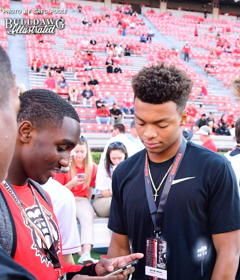 Kearis Jackson (left) with Justin Fields (right) - UGA vs. Mississippi State game - Saturday, September 23, 2017