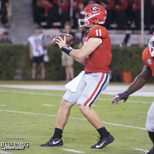 Jake Fromm (11) receives the snap and drops back to pass - UGA vs. Mississippi State - Saturday, Sept. 23, 2017