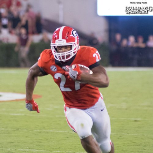 """Nick Chubb (27) rushes 28 yards to the endzone out of the """"Wild Dawg"""" in the third quarter of the UGA-Mississippi State game. - Saturday, Sept. 23, 2017 -"""