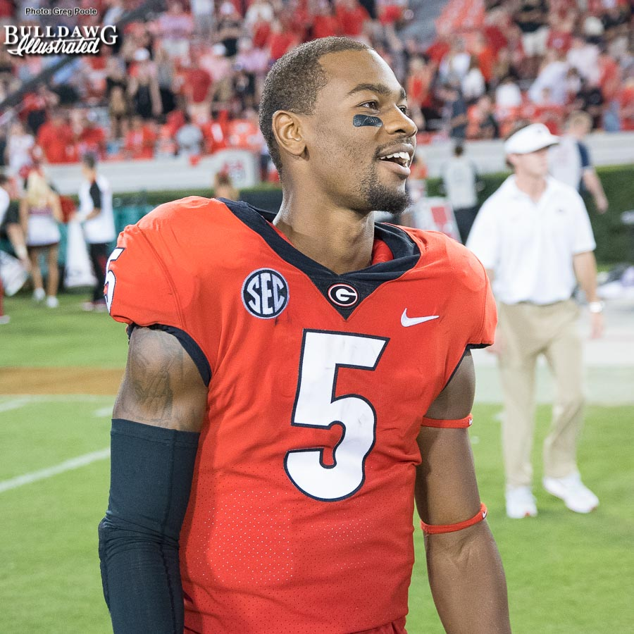 Terry Godwin is all smiles after Georgia's 31-3 drubbing of Mississippi State on Saturday, September 23 at Sanford Stadium