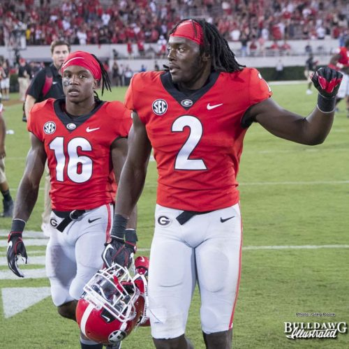 Richard LeCounte (2) and Ahkil Crumpton (16) - UGA vs. Mississippi State - Saturday, Sept. 23, 2017