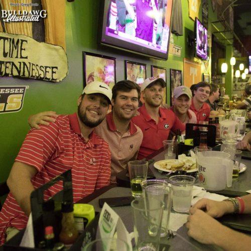 UGA students enjoy downtown Knoxville (R-L) Wyatt Martin, Charlie Burruss, Tommy Burruss, Sam Jarrad, and Jack Kilgore.