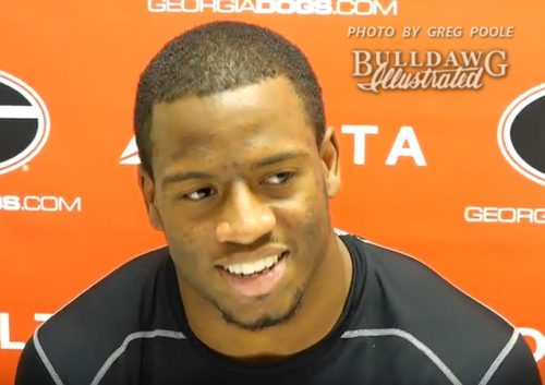 Nick Chubb during his post-Tennessee game interview