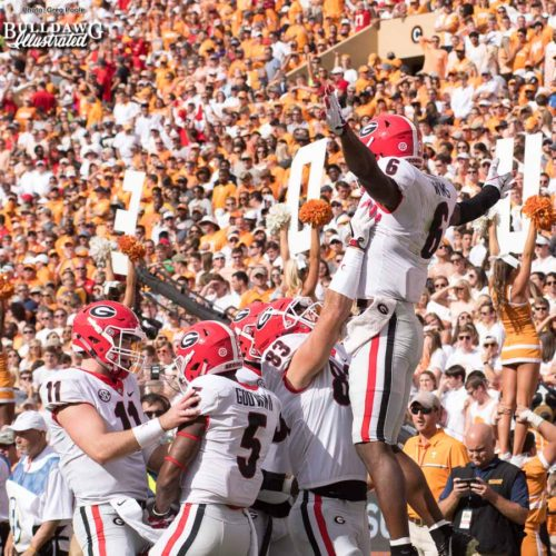 The Georgia offense celebrates Jake Fromm's (11) touchdown pass to Javon Wims (6) to put the Bulldogs up 10-0 in the 1st quarter. Jeb Blazevich (83) and Terry Godwin (5) - UGA vs. Tennessee - Saturday, Sept. 30, 2017