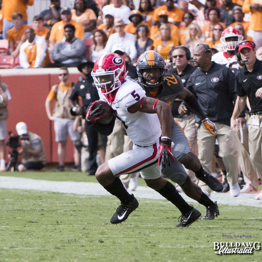 Terry Godwin (5) runs for extra yardage and a first down after the catch - 1st quarter, UGA vs. Tennessee - Saturday, Sept. 30, 2017