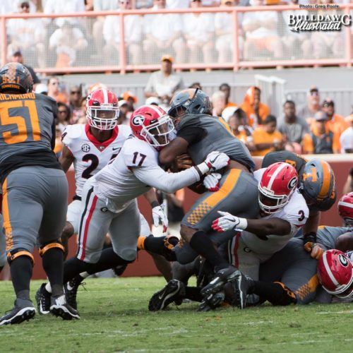 Davin Bellamy (17) and Roquan Smith (3) give no quarter to Vol RB John Kelly (4) - 1st quarter, UGA vs. Tennessee - Saturday, Sept. 30, 2017