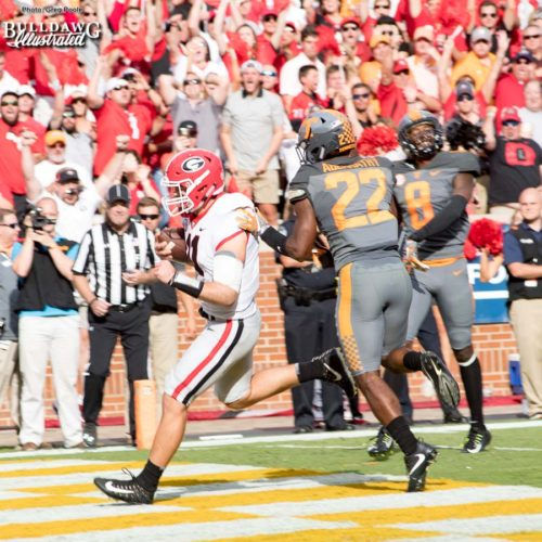 One of the two rushing touchdowns on the afternoon for Jake Fromm (11) - 2nd quarter, UGA vs. Tennessee - Saturday, Sept. 30, 2017