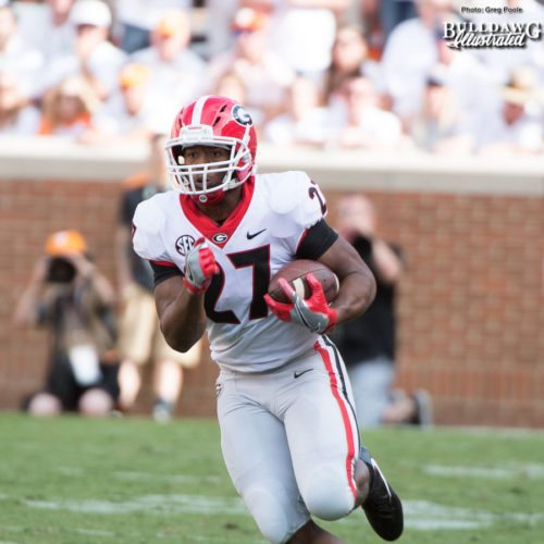 One of Nick Chubb's 16 carries on the night. - 2nd quarter, UGA vs. Tennessee - Saturday, Sept. 30, 2017