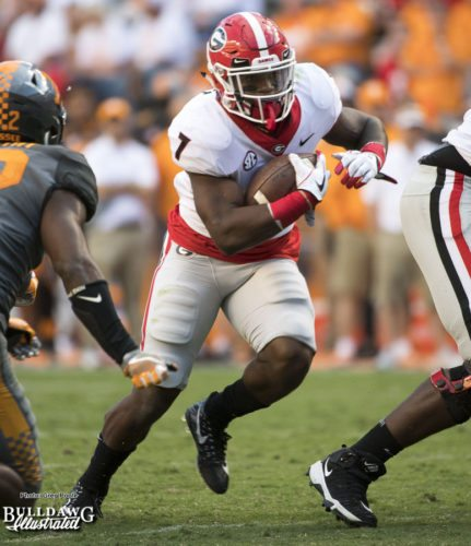 Bulldog tailback D'Andre Swift (7) running with authority - 4th quarter - UGA vs. Tennessee - Saturday, Sept. 30, 2017