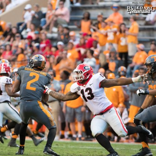 Volunteer QB Jarrett Guarantano (2) is sacked by Georgia's Jonathan Ledbetter (13) - 4th quarter - UGA vs. Tennessee - Saturday, Sept. 30, 2017