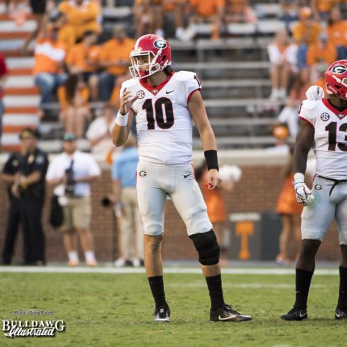 Jacob Eason (10) returns to action during the 4th quarter of the Georgia-Tennessee game, his first action since the opening game. - Saturday, Sept. 30, 2017 -