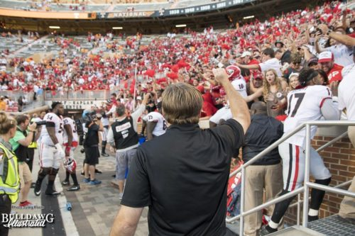 """Georgia Head Coach Kirby Smart with the fist pump and a """"Go Dawgs!"""" after the Bulldogs defeat the Volunteers with prejudice 41-0 - UGA vs. Tennessee - Saturday, Sept. 30, 2017"""