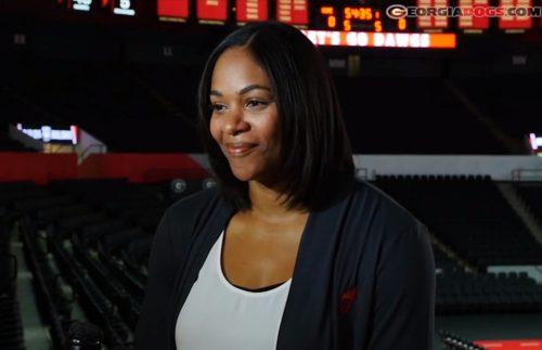 UGA women's basketball Head Coach Joni Taylor during Monday, October 2nd interview (Photo from screenshot of Georgiadogs.com video)