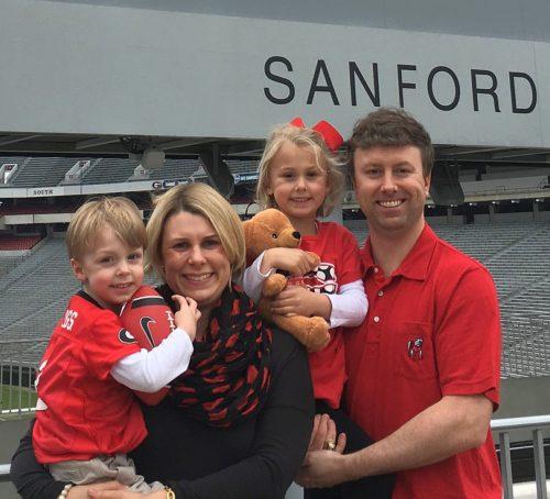 The Gates Family at Sanford Stadium in Athens, Georgia.