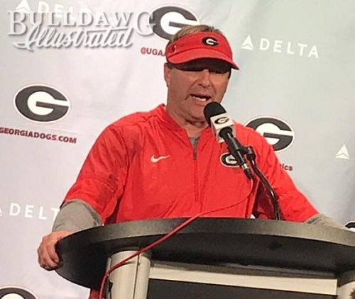 Kirby Smart during his post-practice press conference on Tuesday