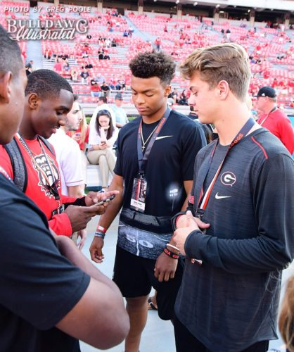 Steven Peterson (right) with 2018 QB Justin Fields (Middle) and 2018 WR Kearis Jackson (left) Visiting UGA for the Mississippi State Game on September 23rd, 2017.